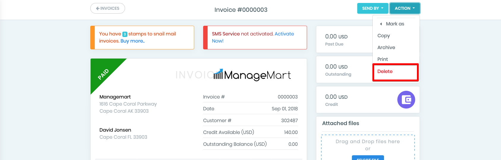 How to delete an invoice?