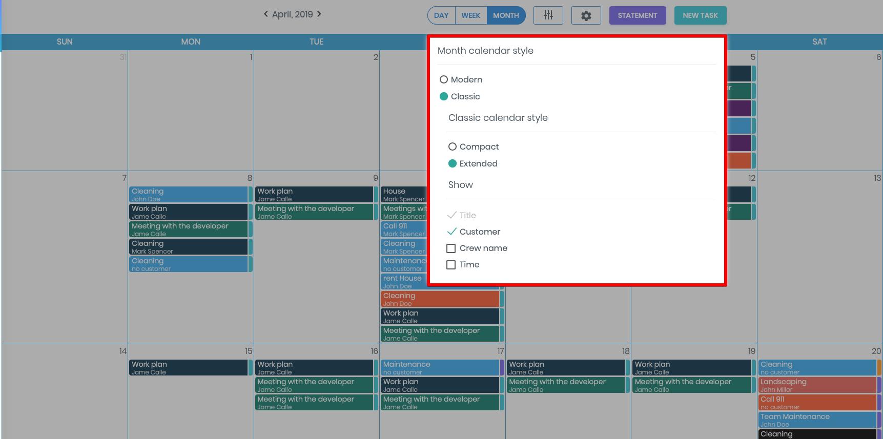 Month-type Calendar View